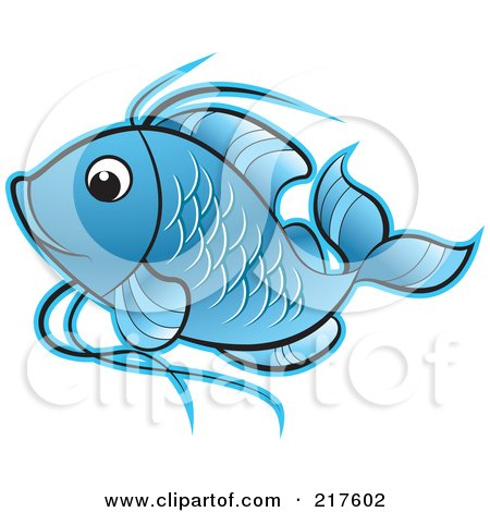 Royalty-Free (RF) Clipart Illustration of a Blue Koi Fish Swimming by Lal Perera