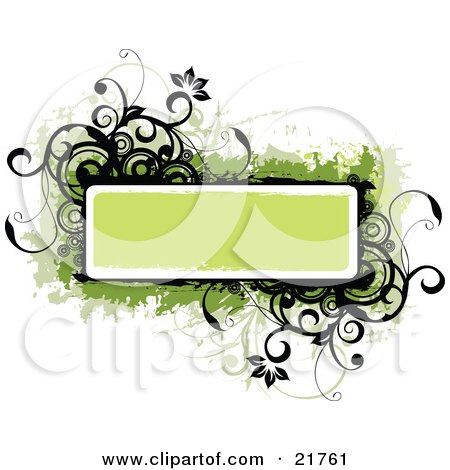 Clipart Picture Illustration of a Green Text Box With Black And Green Flowers, Circles And Vines On A White Background by OnFocusMedia