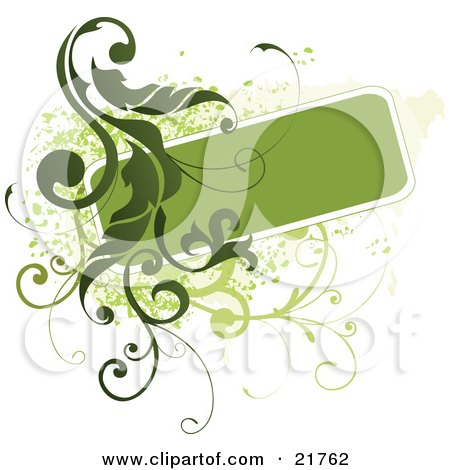 Clipart Picture Illustration of a Green Text Box With Green Vines And Paint Splatters On A White Background by OnFocusMedia
