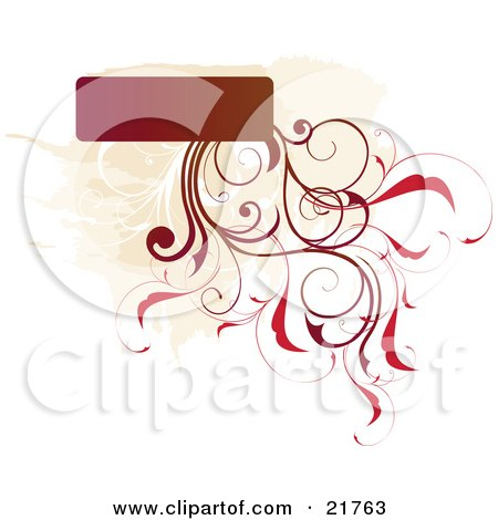 Clipart Picture Illustration of a Text Box With Brown And Red Vines And Flowers Growing From The Bottom Over A White Background by OnFocusMedia