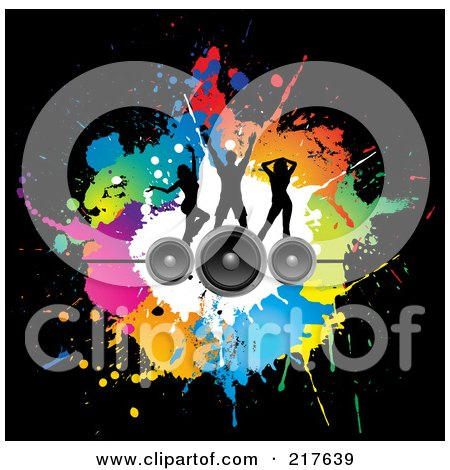 Royalty-Free (RF) Clipart Illustration of a Background Of Silhouetted Dancers On Speakers Over Colorful Splatters On Black by KJ Pargeter