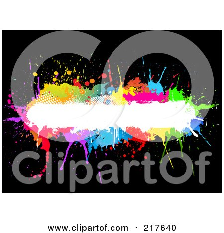 Royalty-Free (RF) Clipart Illustration of a White Text Bar Bordered In Colorful Splatters On Black by KJ Pargeter