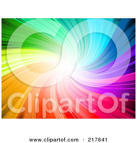 Royalty-Free (RF) Clipart Illustration of a Vibrant Rainbow Swirl Background With Bright Light At The End by KJ Pargeter