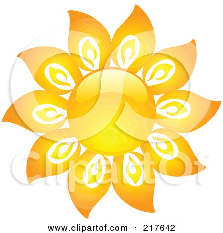 Royalty-Free (RF) Clipart Illustration of a Shiny Orange Hot Summer Sun Design Element - 16 by KJ Pargeter