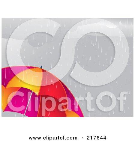 Royalty-Free (RF) Clipart Illustration of a Dreary Gray Sky Raining Down On A Vibrant Umbrella by elaineitalia
