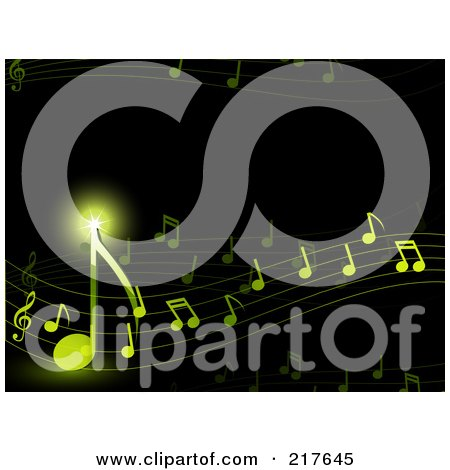 Royalty-Free (RF) Clipart Illustration of a Background Of Shining Green Notes Flowing On Black by elaineitalia