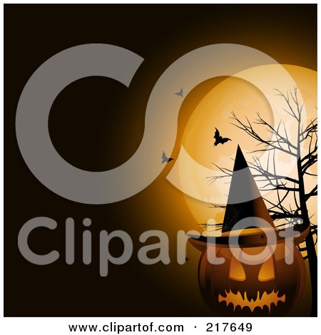 Royalty-Free (RF) Clipart Illustration of a Terrifying Halloween Jackolantern Pumpkin Wearing A Witch Hat By A Dead Tree, Under Bats And A Full Moon by elaineitalia