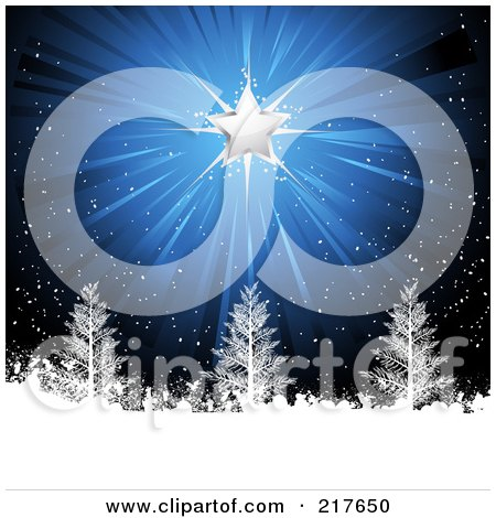 Royalty-Free (RF) Clipart Illustration of a Shining Silver Christmas Star On A Snowy Blue Background With Trees by elaineitalia