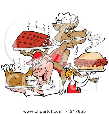 Royalty-Free (RF) Clipart Illustration of a Cow Holding Ribs, Chicken Carrying A Pulled Pork Sandwich And Pig Carrying A Roasted Chicken by LaffToon