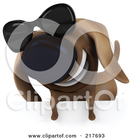 Royalty-Free (RF) Clipart Illustration of a 3d Chubby Dachshund Dog Wearing Shades Over A Blank Sign - 1 by Julos