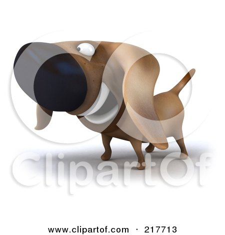Royalty-Free (RF) Clipart Illustration of a 3d Chubby Dachshund Dog Facing Left - 1 by Julos