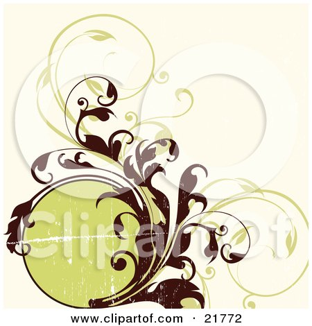 Clipart Picture Illustration of a Circular Text Box With Brown And Green Curling Vines by OnFocusMedia