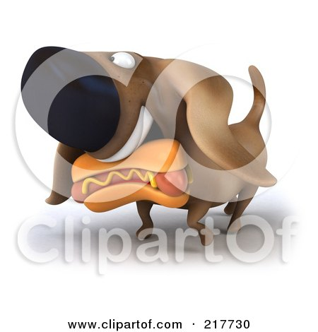 Royalty-Free (RF) Clipart Illustration of a 3d Chubby Dachshund Dog Carrying A Hot Dog by Julos