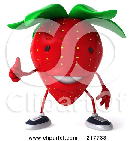 Royalty-Free (RF) Clipart Illustration of a 3d Strawberry Holding A Thumb Up by Julos