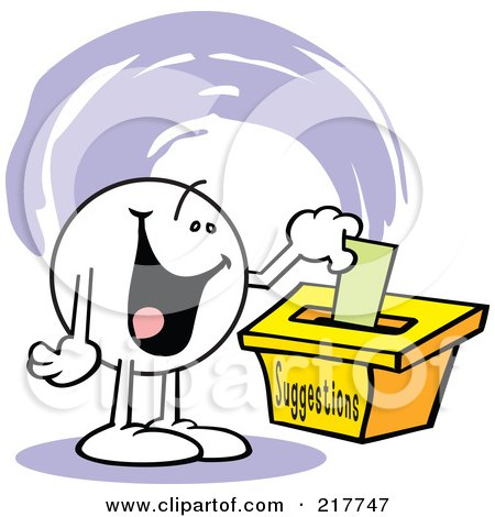 Royalty-Free (RF) Clipart Illustration of a Moodie Character With A Happy Expression, Putting A Comment In A Suggestion Box by Johnny Sajem