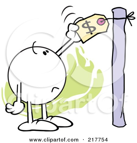 Royalty-Free (RF) Clipart Illustration of a Moodie Character Checking A High Price Tag by Johnny Sajem