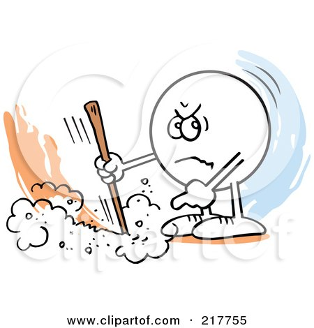 Royalty-Free (RF) Clipart Illustration of a Moodie Character Marking A Line And Pointing by Johnny Sajem