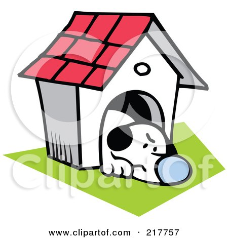 Royalty-Free (RF) Clipart Illustration of a Grumpy Dog Resting In His House by Johnny Sajem