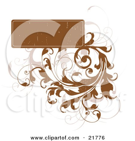 Clipart Picture Illustration Of A Blank Brown Worn Text Box With Bold And Faded Vines On A White Background