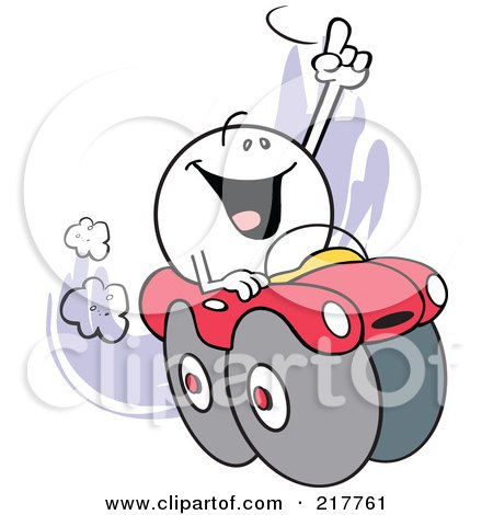 Royalty-Free (RF) Clipart Illustration of a Moodie Character Riding High In A Red Car by Johnny Sajem