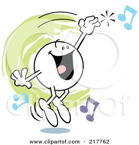 Royalty-Free (RF) Clipart Illustration of a Moodie Character Hitting A High Note by Johnny Sajem