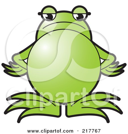 Royalty-Free (RF) Clipart Illustration of a Green Frog Standing With An Angry Expression by Lal Perera