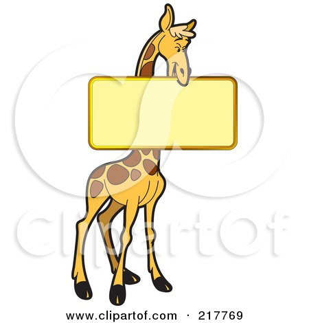 Royalty-Free (RF) Clipart Illustration of a Giraffe Holding A Blank Sign by Lal Perera