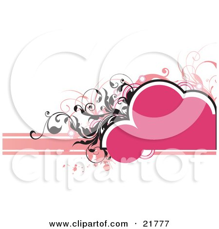 Clipart Picture Illustration of a Bubbly Blank Pink Text Space With Black And Pink Vines And Paint Splatters Over White by OnFocusMedia