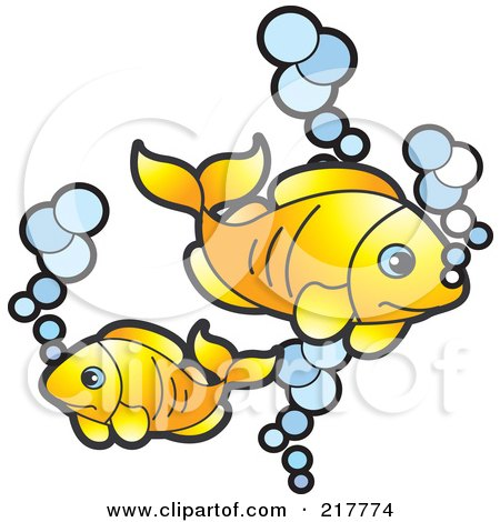 Royalty-Free (RF) Clipart Illustration of Goldfish And Bubbles by Lal Perera