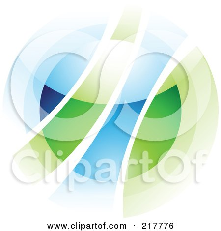 Royalty-Free (RF) Clipart Illustration of an Abstract Blurry Green And Blue Orb In Motion Logo Icon by cidepix