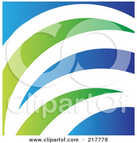 Royalty-Free (RF) Clipart Illustration of an Abstract Blue, White And Green Grass Logo, Icon, Or Background by cidepix