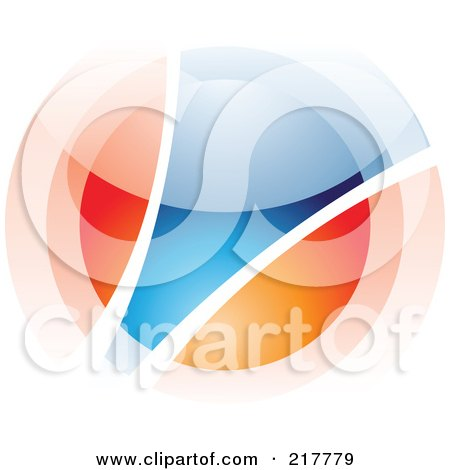 Royalty-Free (RF) Clipart Illustration of an Abstract Blurry Orange And Blue Orb In Motion Logo Icon - 3 by cidepix