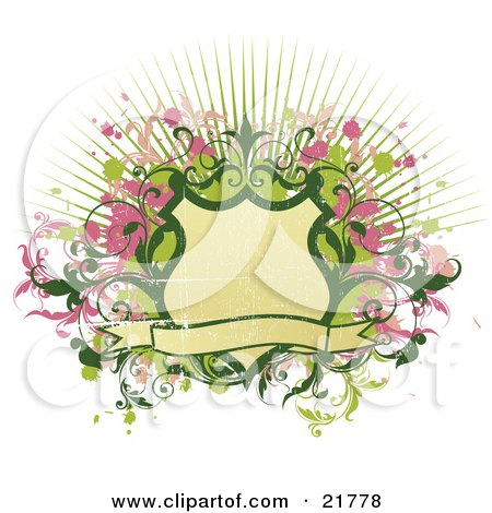 Blank Tan Banner And Shield With Green And Pink Splatters And Vines Over A Bursting Background On White Posters, Art Prints