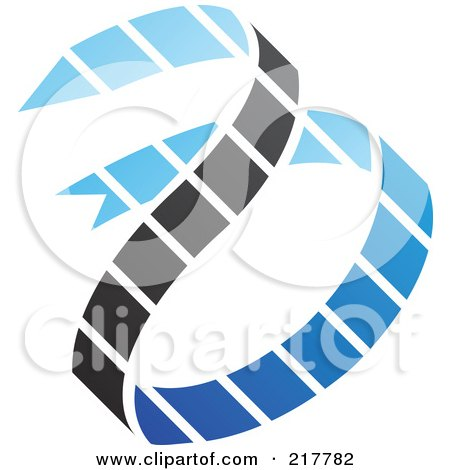 Royalty-Free (RF) Clipart Illustration of an Abstract Blue And Black Ribbon Logo Icon by cidepix