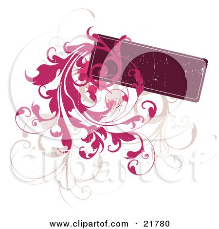 Clipart Picture Illustration of a Blank Deep Red Text Box With Tan And Pink Leafy Vines Over White by OnFocusMedia