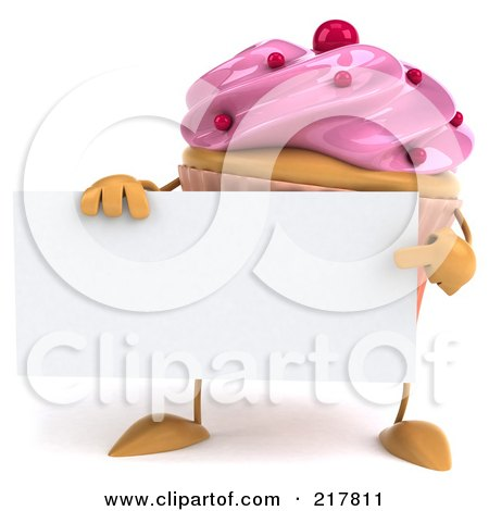 Royalty-Free (RF) Clipart Illustration of a 3d Strawberry Frosted Cupcake Holding A Blank Sign Board by Julos
