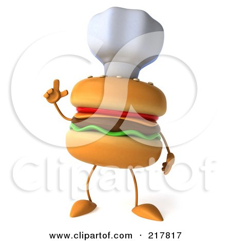 Royalty-Free (RF) Clipart Illustration of a 3d Cheeseburger Chef Holding Up A Finger by Julos