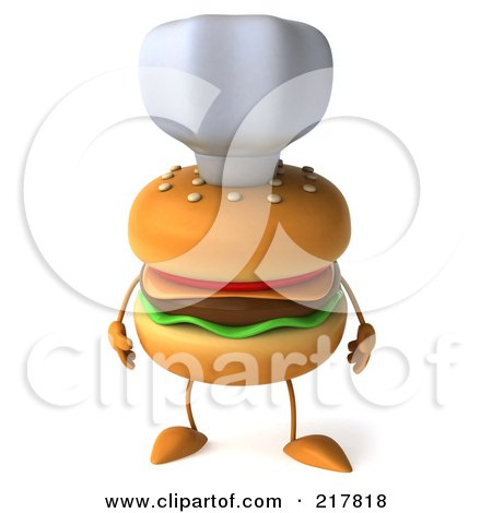 Royalty-Free (RF) Clipart Illustration of a 3d Cheeseburger Chef With Its Arms At Its Side by Julos
