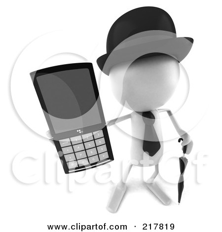 Royalty-Free (RF) Clipart Illustration of a 3d White Bob Character Holding Out A Cell Phone by Julos