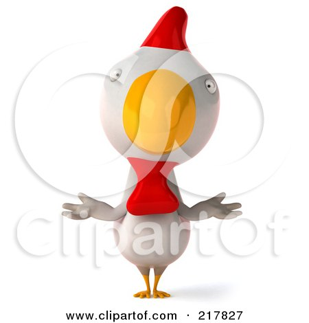 Royalty-Free (RF) Clipart Illustration of a 3d White Chicken Facing Front And Shrugging by Julos