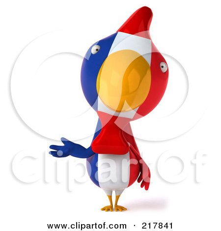 Royalty-Free (RF) Clipart Illustration of a 3d French Chicken Facing Front And Gesturing With One Hand by Julos
