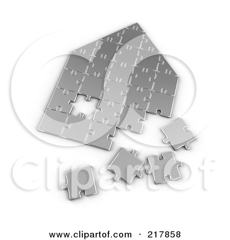 Royalty-Free (RF) Clipart Illustration of a Silver Incomplete House Shaped Puzzle by stockillustrations
