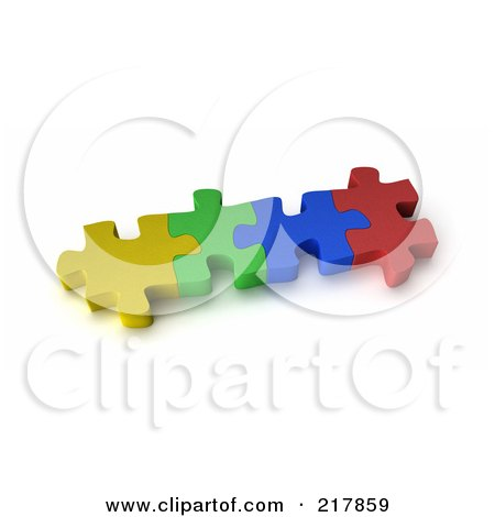 Royalty-Free (RF) Clipart Illustration of Four 3d Interconnected Colorful Puzzle Pieces by stockillustrations