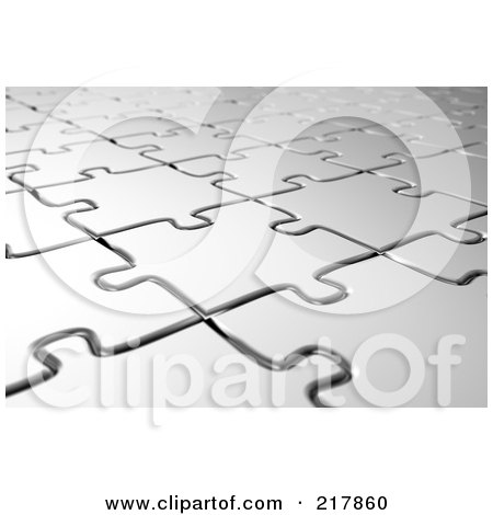 Royalty-Free (RF) Clipart Illustration of an Angled Background Of Silver Puzzle Pieces by stockillustrations