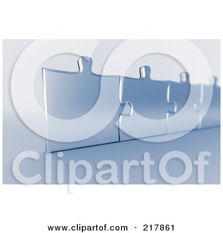 Royalty-Free (RF) Clipart Illustration of a Upright 3d Row Of Connected Silver Puzzle Pieces With Blue Tint by stockillustrations