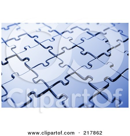 Royalty-Free (RF) Clipart Illustration of an Angled Background Of Blue Puzzle Pieces  by stockillustrations
