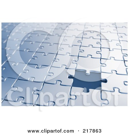 Royalty-Free (RF) Clipart Illustration of a Background Of Blue Puzzle Pieces One Missing by stockillustrations
