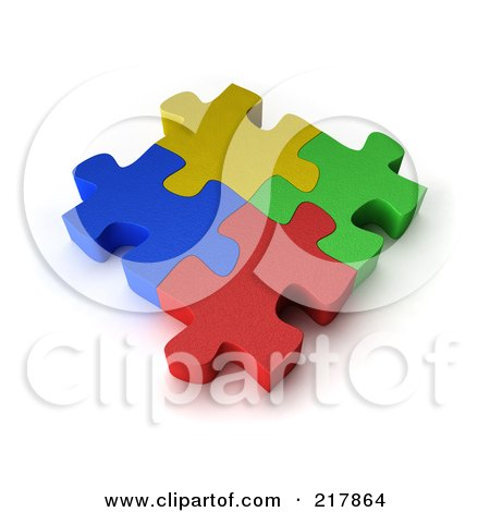 Royalty-Free (RF) Clipart Illustration of Four 3d Colorful Puzzle Pieces Interconnected by stockillustrations