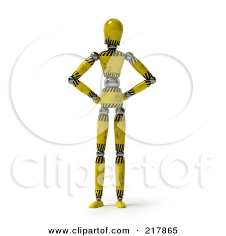Royalty-Free (RF) Clipart Illustration of a Golden Hazard Striped Mannequin Standing With His Hands On His Hips by stockillustrations