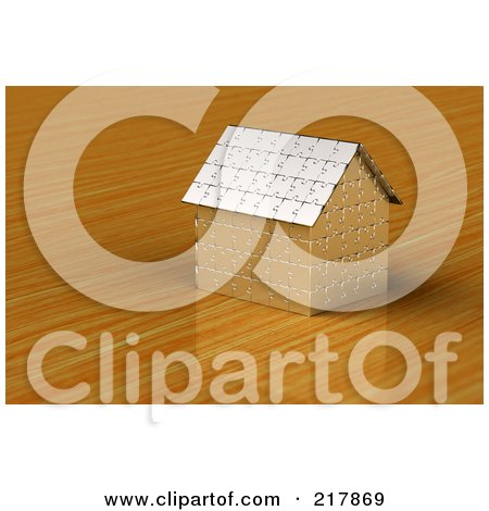 Royalty-Free (RF) Clipart Illustration of a 3d Silver Puzzle House On A Wooden Surface by stockillustrations